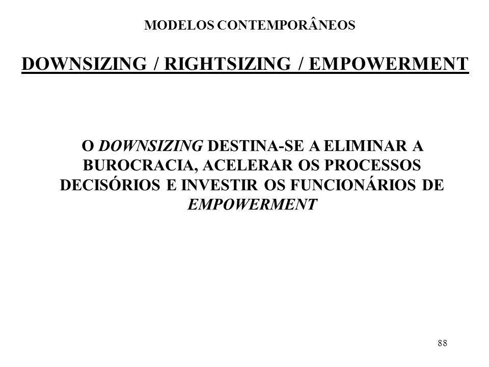 88 DOWNSIZING / RIGHTSIZING / EMPOWERMENT MODELOS CONTEMPORÂNEOS O DOWNSIZING DESTINA-SE A ELIMINAR A BUROCRACIA, ACELERAR OS PROCESSOS DECISÓRIOS E I