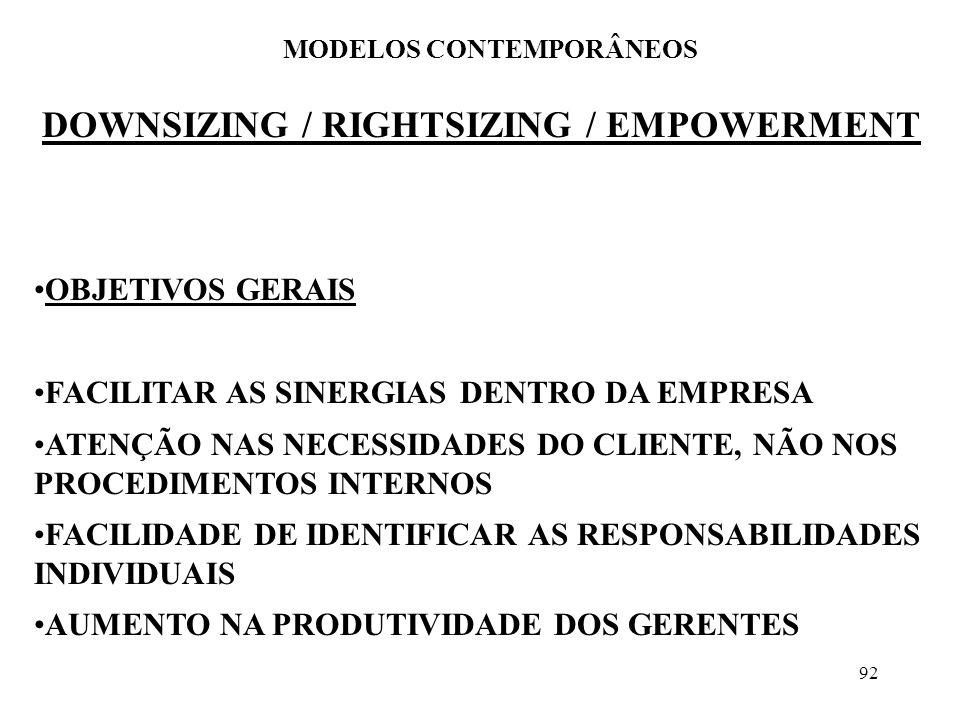92 DOWNSIZING / RIGHTSIZING / EMPOWERMENT MODELOS CONTEMPORÂNEOS OBJETIVOS GERAIS FACILITAR AS SINERGIAS DENTRO DA EMPRESA ATENÇÃO NAS NECESSIDADES DO