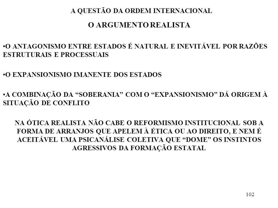 103 A QUESTÃO DA ORDEM INTERNACIONAL O ARGUMENTO REALISTA POR QUE OS ESTADOS SÃO EXPANSIONISTAS.