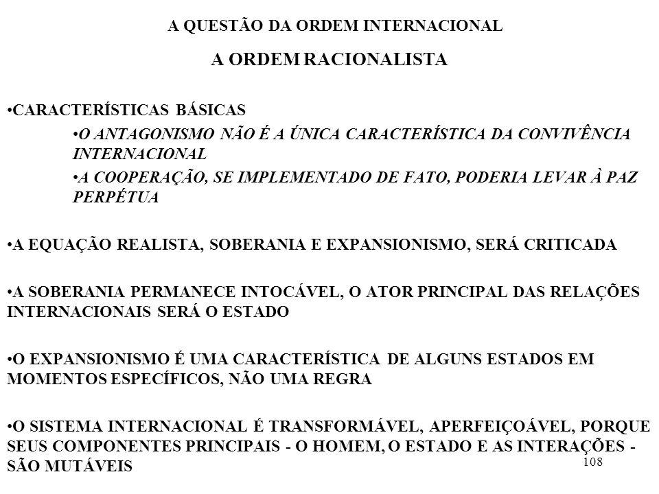 109 A QUESTÃO DA ORDEM INTERNACIONAL A ORDEM RACIONALISTA OS INSTINTOS ORIGINAIS DO SER HUMANO SÃO BONS HÁ REGIMES POLÍTICOS QUE INDUZEM A UM COMPORTAMENTO PACÍFICO O COMÉRCIO LIBERAL AGE COMO UM INSTRUMENTO PARA A PAZ O ESTADO É UMA INSTITUIÇÃO SOCIAL, VOLTADA PARA A SOLUÇÃO DE CERTOS PROBLEMAS, E À MEDIDA QUE SE ENGAJE CORRETAMENTE NO SISTEMA INTERNACIONAL, PRODUZIRÁ VANTAGENS ADICIONAIS PARA A SUA POPULAÇÃO EVOLUÇÃO HISTÓRICA DA PERSPECTIVA GROTIANA SOCIEDADE INTERNACIONAL CRISTÃ SOCIEDADE EUROPÉIA INTERNACIONAL SOCIEDADE INTERNACIONAL DE ESCOPO MUNDIAL