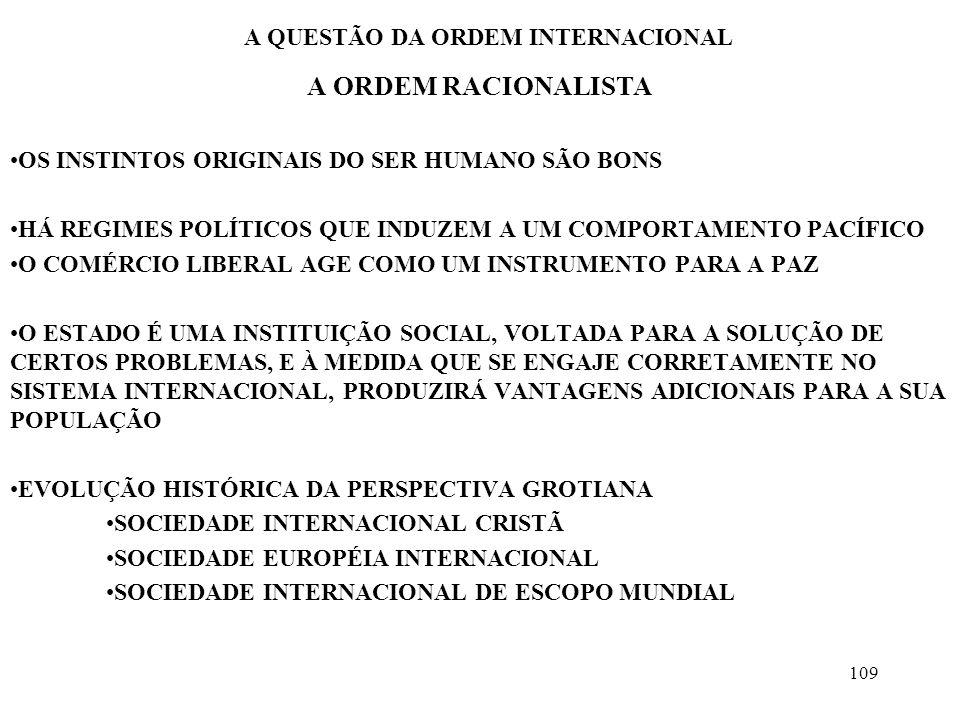 110 A QUESTÃO DA ORDEM INTERNACIONAL A ORDEM RACIONALISTA A INSTITUCIONALIZAÇÃO DO DIREITO INTERNACIONAL E A EXISTÊNCIA DE CONSTRANGIMENTOS ÉTICOS E LEGAIS LIMITAM A AÇÃO DO ESTADO A BASE CONCEITUAL DA ORDEM SERÁ A SOCIABILIDADE DO HOMEM NENHUM ATO DESONROSO DEVE SER COMETIDO, MESMO QUE SEJA EM PROL DO SEU PAÍS A PARTIR DO MOMENTO EM QUE, PELA RAZÃO, PODE-SE CONHECER O QUE É VANTAGEM DE TODOS, SERÁ POSSÍVEL DETERMINAR O COMPORTAMENTO ILEGAL OU INJUSTO, O COMPORTAMENTO QUE VIOLA OS PRECEITOS DA RAZÃO GROTIUS NÃO É UTÓPICO PORQUE O QUE PRETENDE É EXPLORAR OS MELHORES FEITOS DA NATUREZA HUMANA