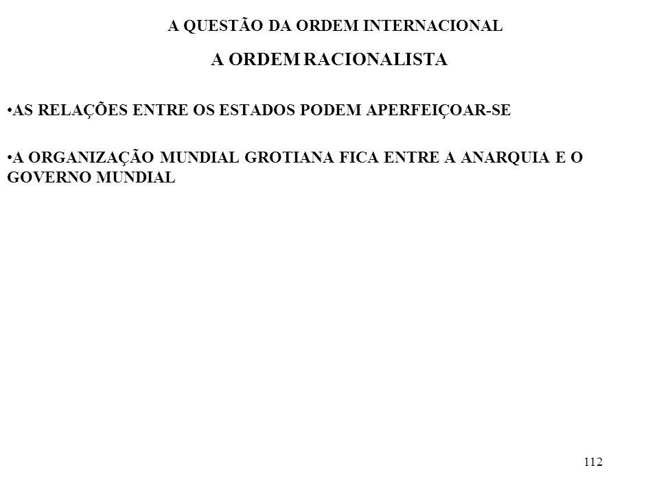 113 A QUESTÃO DA ORDEM INTERNACIONAL OS UNIVERSALISTAS A CARACTERÍSTICA PRINCIPAL É O ABANDONO DA SOBERANIA A PERSPECTIVA É TRANSFORMADORA E OTIMISTA O UNIVERSALISMO, POR REVELAÇÃO OU POR CIÊNCIA, SE GENERALIZARIA O MARXISMO É UM PROJETO UNIVERSALISTA PARADOXO AS BASES OBJETIVAS DE UNIFICAÇÃO SE FORTALECEM PROJETOS GLOBAIS DE REORDENAMENTO PERDEM FORÇA