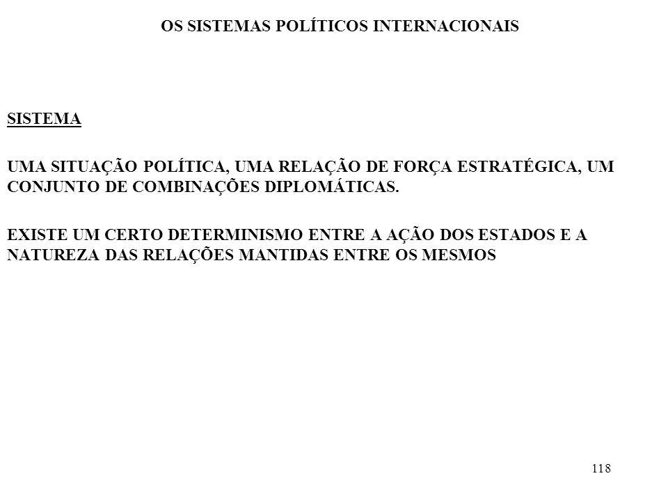 118 OS SISTEMAS POLÍTICOS INTERNACIONAIS SISTEMA UMA SITUAÇÃO POLÍTICA, UMA RELAÇÃO DE FORÇA ESTRATÉGICA, UM CONJUNTO DE COMBINAÇÕES DIPLOMÁTICAS. EXI