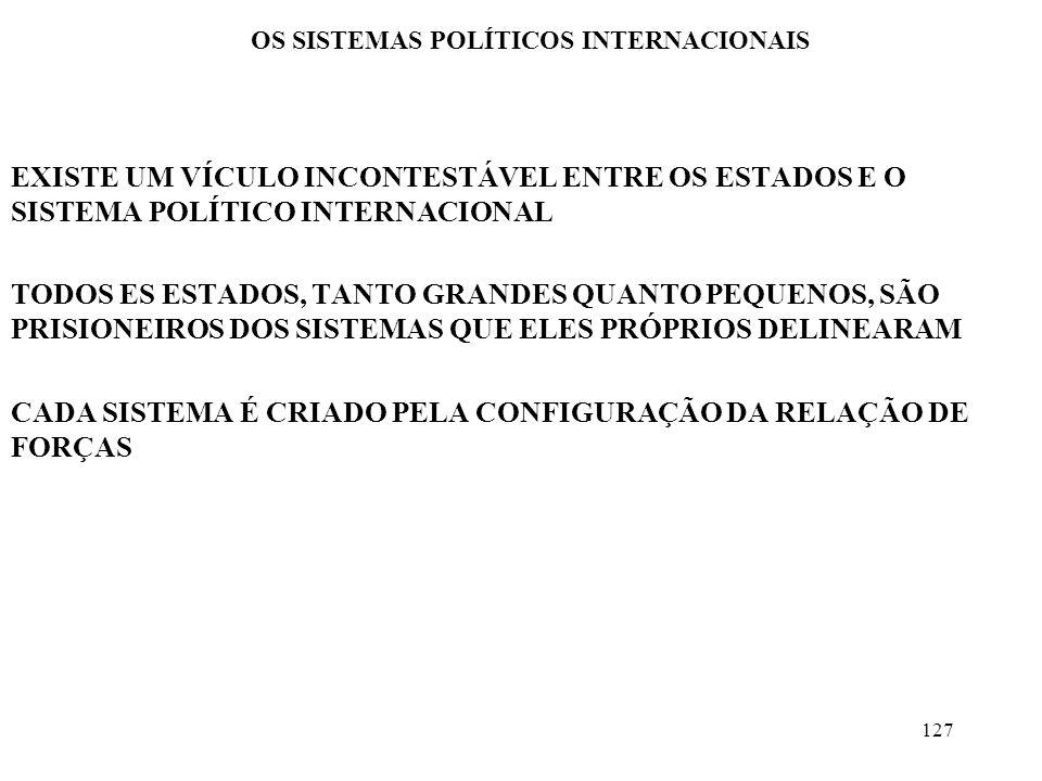 127 OS SISTEMAS POLÍTICOS INTERNACIONAIS EXISTE UM VÍCULO INCONTESTÁVEL ENTRE OS ESTADOS E O SISTEMA POLÍTICO INTERNACIONAL TODOS ES ESTADOS, TANTO GR