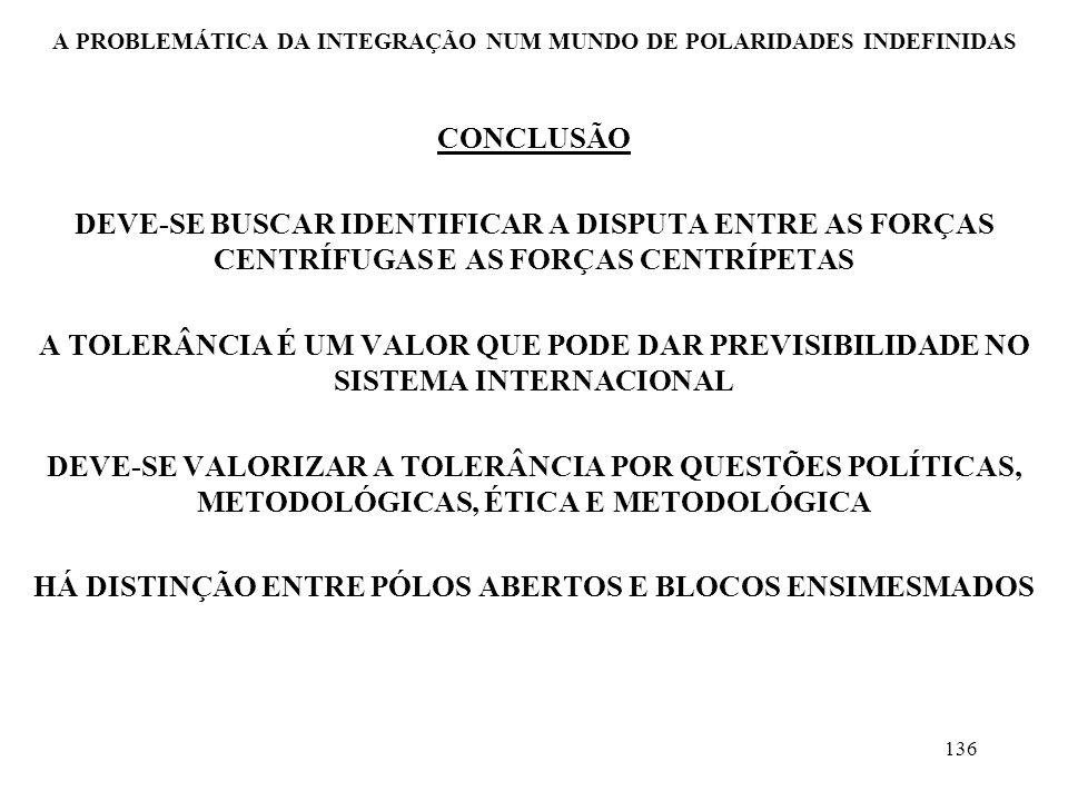 137 A PROBLEMÁTICA DA INTEGRAÇÃO NUM MUNDO DE POLARIDADES INDEFINIDAS CONCLUSÃO A POLÍTICA EXTERNA OPERA SIMULTÂNEA E COMPLEMENTARMENTE EM DOIS NÍVEIS: O INTERNO E O EXTERNO O MERCOSUL, ATUANDO COMO PÓLO ABERTO, PODERÁ SER UM FATOR DE AUMENTO DA PREVISIBILIDADE E, PORTANTO, DA PAZ MUNDIAL