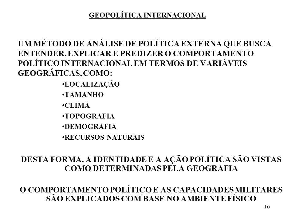 16 GEOPOLÍTICA INTERNACIONAL UM MÉTODO DE ANÁLISE DE POLÍTICA EXTERNA QUE BUSCA ENTENDER, EXPLICAR E PREDIZER O COMPORTAMENTO POLÍTICO INTERNACIONAL E