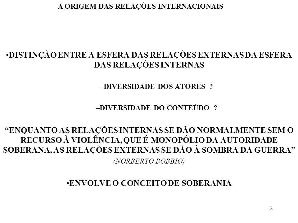 3 SOBERANIA –CAPACIDADE DE OBRIGAR QUE NÃO TEM IGUAL NA VIDA INTERNA DA COMUNIDADE, NEM SUPERIOR NA VIDA EXTERNA (ADRIANO MOREIRA) –PODER DE MANDO DE ÚLTIMA INSTÂNCIA, NUMA SOCIEDADE POLÍTICA (NORBERTO BOBBIO) –PRESSUPÕE A POSSIBILIDADE DE IDENTIFICAR UMA AUTORIDADE SUPREMA –O PODER ABSOLUTO E PERPÉTUO DE UMA REPÚBLICA(JEAN BODIN) A ORIGEM DAS RELAÇÕES INTERNACIONAIS