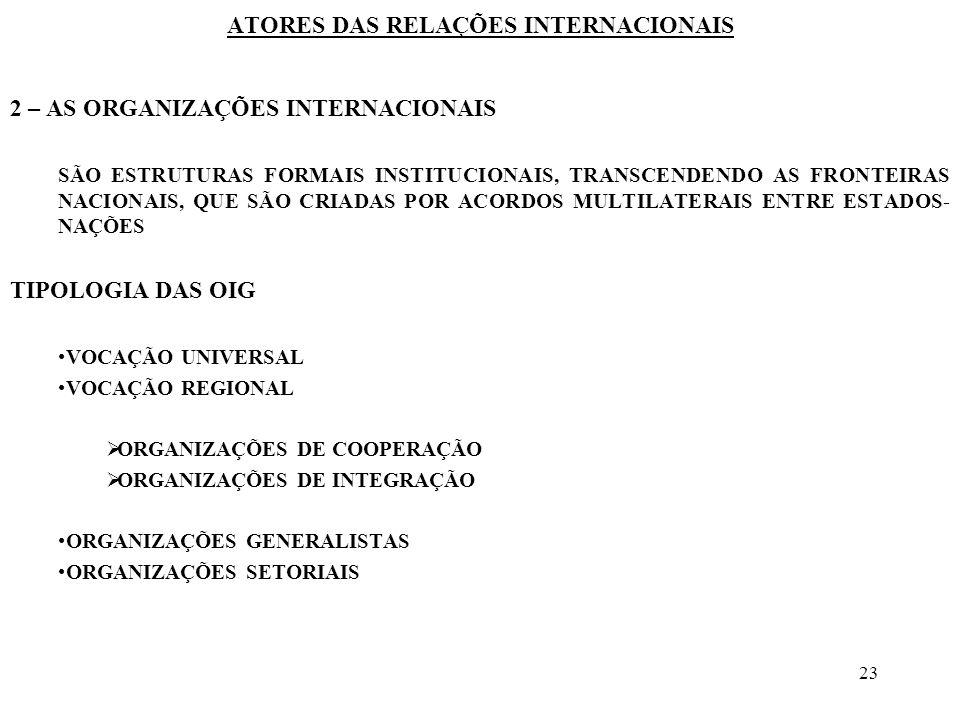 23 ATORES DAS RELAÇÕES INTERNACIONAIS 2 – AS ORGANIZAÇÕES INTERNACIONAIS SÃO ESTRUTURAS FORMAIS INSTITUCIONAIS, TRANSCENDENDO AS FRONTEIRAS NACIONAIS,
