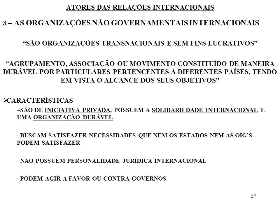 28 ATORES DAS RELAÇÕES INTERNACIONAIS 3 – AS ORGANIZAÇÕES NÃO GOVERNAMENTAIS INTERNACIONAIS CATEGORIAS INTERNACIONAIS POLÍTICAS OU SINDICAIS COMITÊ INTERNACIONAL DA CRUZ VERMELHA (RED CROSS) ORGANIZAÇÕES DESPORTIVAS ONGS DE GRANDE PARTICIPAÇÃO INTERNACIONAL CRITÉRIOS DE ANÁLISE IMPLANTAÇÃO GEOGRÁFICA DIMENSÃO ESTRUTURA E ORGANIZAÇÃO OBJETIVOS O RELACIONAMENTO DAS ONGS –COM OS ESTADOS –COM A OIGS