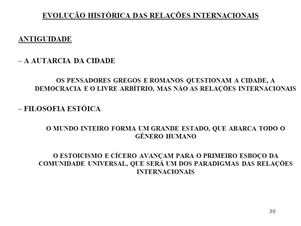 31 EVOLUÇÃO HISTÓRICA DAS RELAÇÕES INTERNACIONAIS ANTIGUIDADE O PERÍODO ROMANO NÃO PODE OFERECER UMA CLARA DEMONSTRAÇÃO DAS RELAÇÕES INTERNACIONAIS AS RELAÇÕES ENTRE O POVO ROMANO E SEUS VIZINHOS FORAM DE DOMINAÇÃO, CONQUISTA E PILHAGEM