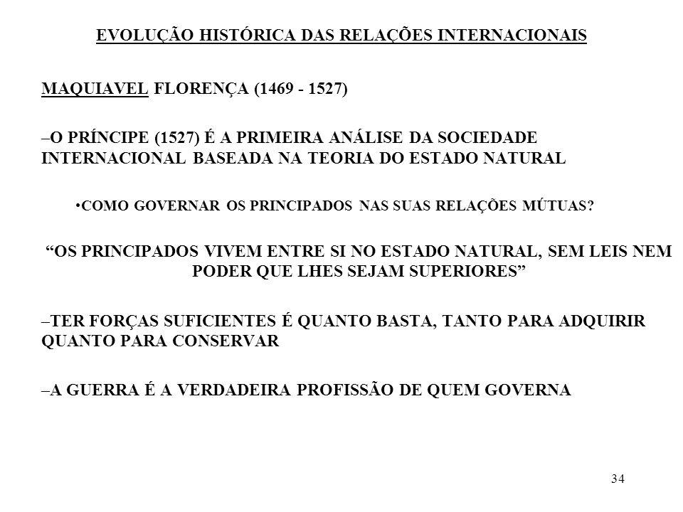 34 EVOLUÇÃO HISTÓRICA DAS RELAÇÕES INTERNACIONAIS MAQUIAVEL FLORENÇA (1469 - 1527) –O PRÍNCIPE (1527) É A PRIMEIRA ANÁLISE DA SOCIEDADE INTERNACIONAL