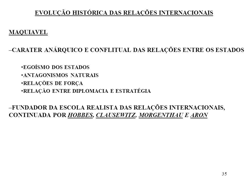 36 EVOLUÇÃO HISTÓRICA DAS RELAÇÕES INTERNACIONAIS VITORIA E SUAREZ FRANCISCO DE VITÓRIA - DOMINICANO ESPANHOL (1492 - 1546) LEGITIMIDADE DA AQUISIÇÃO DE TERRAS ESTRANGEIRAS NATUREZA DAS RELAÇÕES ENTRE COLONIZADOS E COLONIZADORES –PREOCUPA-SE EM FUNDAR UM DIREITO INTERNACIONAL, RETOMANDO O PARADIGMA DA COMUNIDADE UNIVERSAL –JUS COMMUNICATIONIS –DIREITO NATURAL DO HOMEM, SUPERIOR ÀS PRERROGATIVAS DOS ESTADOS