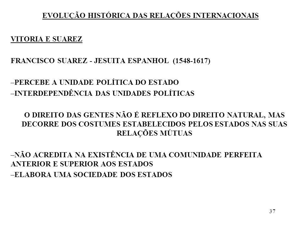37 EVOLUÇÃO HISTÓRICA DAS RELAÇÕES INTERNACIONAIS VITORIA E SUAREZ FRANCISCO SUAREZ - JESUITA ESPANHOL (1548-1617) –PERCEBE A UNIDADE POLÍTICA DO ESTA