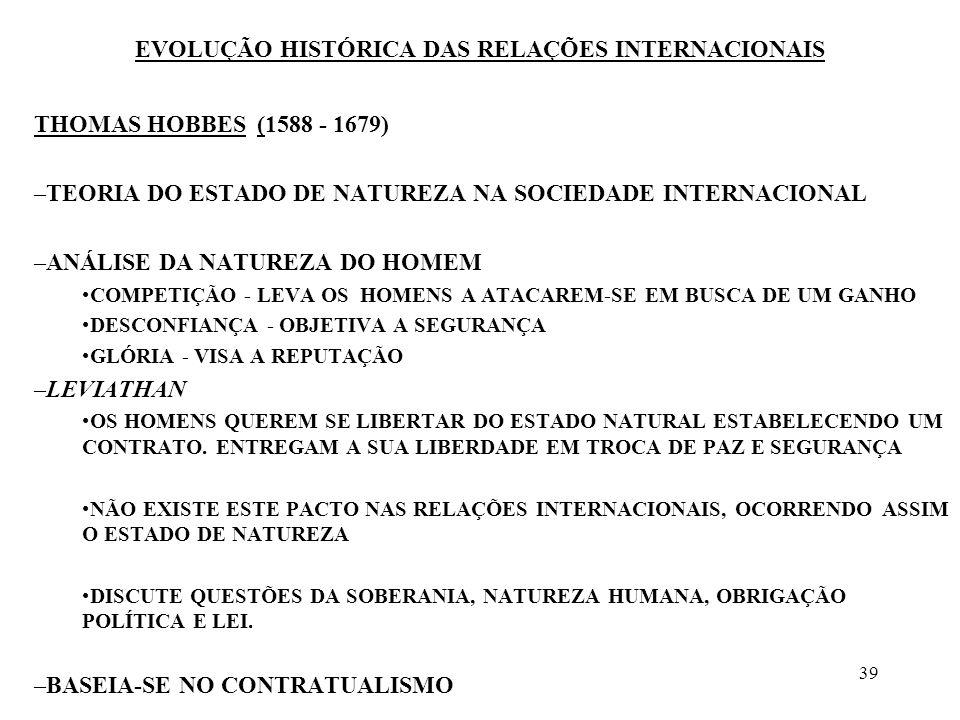 39 EVOLUÇÃO HISTÓRICA DAS RELAÇÕES INTERNACIONAIS THOMAS HOBBES (1588 - 1679) –TEORIA DO ESTADO DE NATUREZA NA SOCIEDADE INTERNACIONAL –ANÁLISE DA NAT