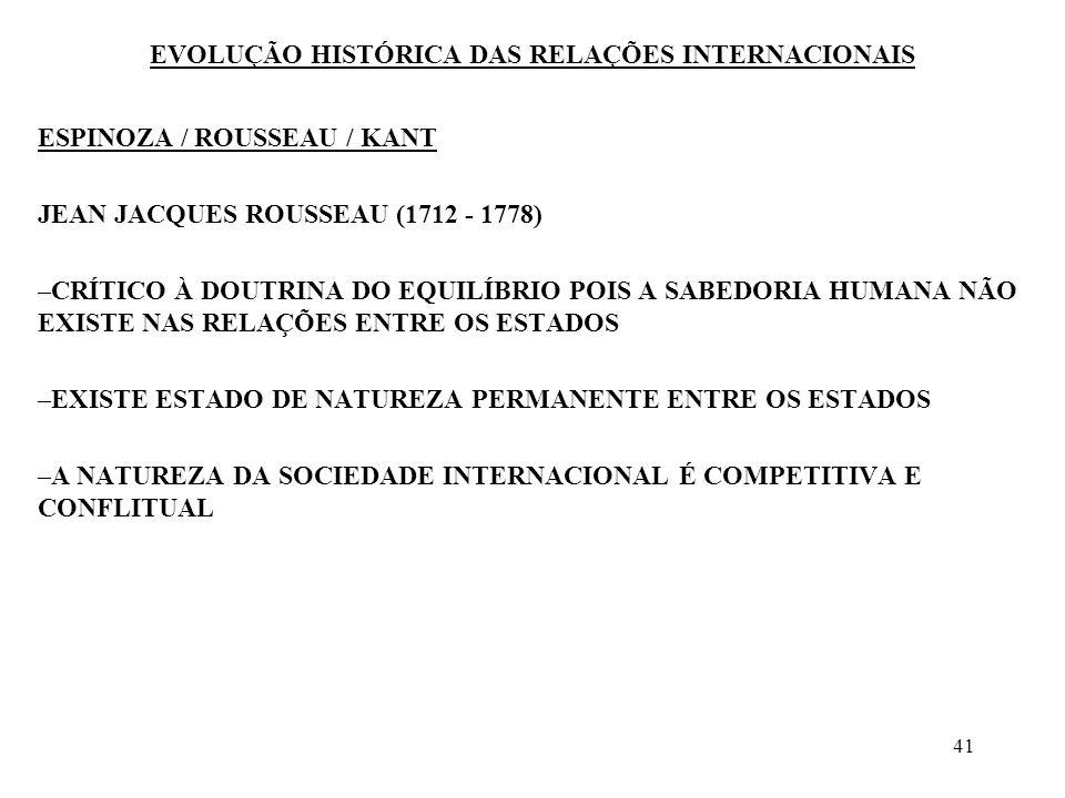 42 EVOLUÇÃO HISTÓRICA DAS RELAÇÕES INTERNACIONAIS ESPINOZA / ROUSSEAU / KANT KANT (1724 - 1795) –O IDEALISMO MORAL MOVE A REFLEXÃO POLÍTICA DE KANT –ACREDITA NA EVOLUÇÃO DA ESPÉCIE HUMANA, COM FINS MORAIS –FEDERALISTA –A GUERRA NÃO PODERÁ SER ULTRAPASSADA SENÃO COM A ADMISSÃO DE UM DIREITO UNIVERSAL, NUMA SOCIEDADE CIVIL UNIVERSAL –A GUERRA TEM UM VALOR PEDAGÓGICO –KANT ANUNCIA A FILOSOFIA LIBERAL DO SÉCULO XIX, O WILSONISMO E O MUNDIALISMO CONTEMPORÂNEO