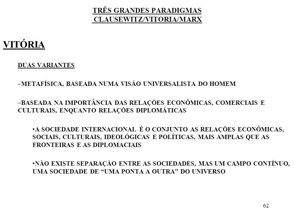 63 TRÊS GRANDES PARADIGMAS CLAUSEWITZ/VITORIA/MARX REVOLUCIONÁRIOS FRANCESES, FITCHE, HEGEL, MARX, ENGELS –MUNDO DIVIDIDO ENTRE AQUELES QUE FAZEM A HISTÓRIA E AQUELES QUE A SOFREM –MUNDO DE DESIGUALDADES, ONDE A DOMINAÇÃO DE ALGUNS CONDUZ AO ESTABELECIMENTO DE PODERES DE FATO INTERNACIONAIS –A SOCIEDADE INTERNACIONAL É DE DEPENDÊNCIA POLÍTICA E ECONÔMICA BASEADA NA EXPLORAÇÃO E NA DOMINAÇÃO, SEMELHANTE ÀS SOCIEDADES INTERNAS, ONDE EXISTEM GOVERNADOS E GOVERNANTES –NÃO HÁ QUALQUER ESPECIFICIDADE DA SOCIEDADE INTERNACIONAL EM RELAÇÃO ÀS SOCIEDADES INTERNAS, POSTO QUE ASSENTA NAS MESMAS CONTRADIÇÕES E NOS MESMOS PRINCÍPIOS DE DOMINAÇÃO
