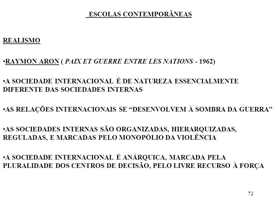 73 ESCOLAS CONTEMPORÂNEAS REALISMO NÃO EXISTE COMUNIDADE INTERNACIONAL, EXISTE SIM UMA COEXISTÊNCIA DE FATO ENTRE ENTIDADES INDEPENDENTES E SOBERANAS, OS ESTADOS-NAÇÕES A SOCIEDADE INTERNACIONAL É MARCADA PELA HETEROGENEIDADE E PELA COEXISTÊNCIA.