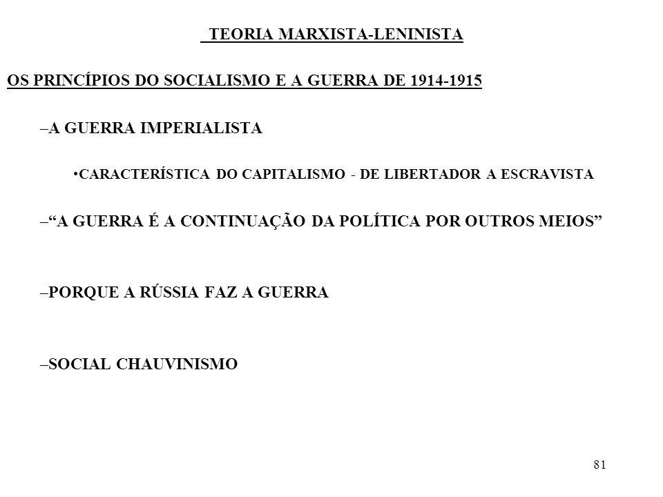81 TEORIA MARXISTA-LENINISTA OS PRINCÍPIOS DO SOCIALISMO E A GUERRA DE 1914-1915 –A GUERRA IMPERIALISTA CARACTERÍSTICA DO CAPITALISMO - DE LIBERTADOR