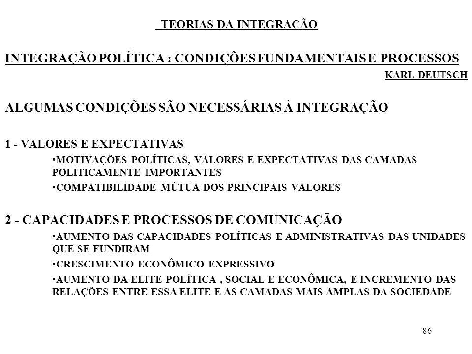 87 TEORIAS DA INTEGRAÇÃO 3 - MOBILIDADE DAS PESSOAS PELO MENOS AO NÍVEL DAS CAMADAS POLITICAMENTE IMPORTANTES LIGAÇÕES ESTÁVEIS DE COMUNICAÇÃO SOCIAL 4 - MULTIPLICIDADE E EQUILÍBRIO DAS TRANSAÇÕES NÃO APENAS ENTRE AS ELITES, MAS ENTRE EXPRESSIVA CAMADA DE ATORES E ENVOLVENDO VASTA GAMA DE SERVIÇOS E FUNÇÕES COMUNS EQUILÍBRIO DAS VANTAGENS ENTRE OS DIFERENTES TERRITÓRIOS E EQUILÍBRIO DA ESTIMA, OU DOS SÍMBOLOS, ENTRE OS PARCEIROS ESTE EQUILÍBRIO PODE SER ANALISADO A MÉDIO E LONGO PRAZOS, NÃO SOMENTE A CURTO PRAZO ALTERNÂNCIA FREQUÊNTE DAS FUNÇÕES 5 - POSSIBILIDADE DE PREVISÃO RECÍPROCA DE COMPORTAMENTO ESPERA-SE UM CERTO TIPO DE COMPORTAMENTO, INTERDEPENDENTE, IDÊNTICO, OU, PELO MENOS, COMPATÍVEL CAPACIDADE DE PREVISÃO DAS AÇÕES RECÍPROCAS