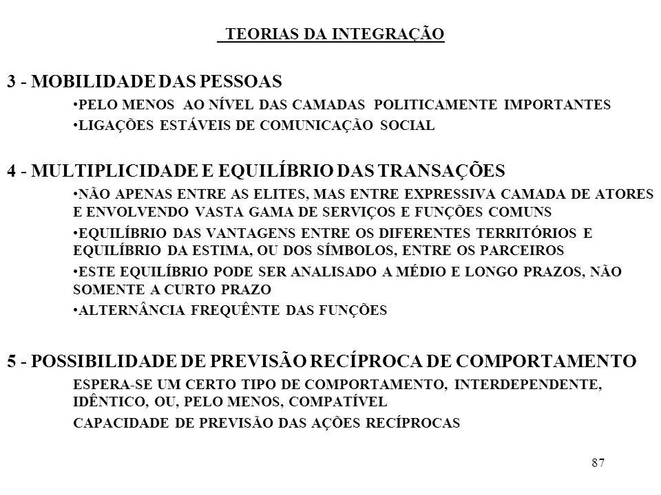 87 TEORIAS DA INTEGRAÇÃO 3 - MOBILIDADE DAS PESSOAS PELO MENOS AO NÍVEL DAS CAMADAS POLITICAMENTE IMPORTANTES LIGAÇÕES ESTÁVEIS DE COMUNICAÇÃO SOCIAL