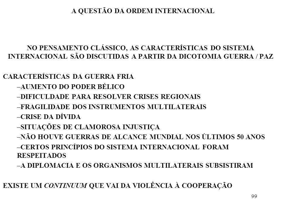 99 A QUESTÃO DA ORDEM INTERNACIONAL NO PENSAMENTO CLÁSSICO, AS CARACTERÍSTICAS DO SISTEMA INTERNACIONAL SÃO DISCUTIDAS A PARTIR DA DICOTOMIA GUERRA /