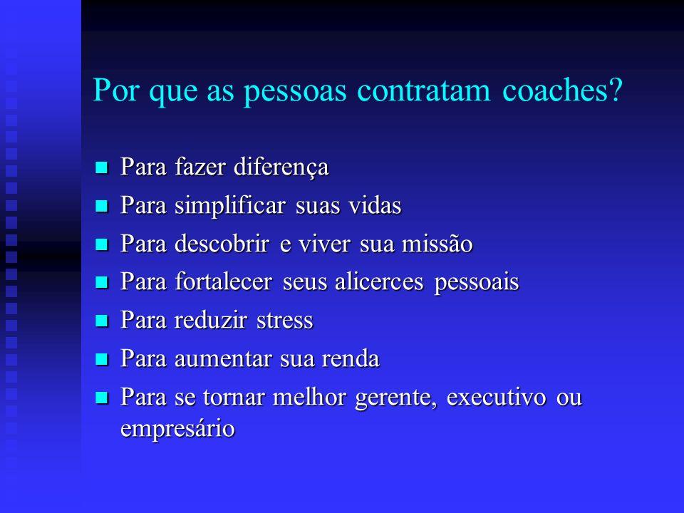 Por que as pessoas contratam coaches? Para estabelecer melhores objetivos Para estabelecer melhores objetivos Para alcançar seus objetivos mais rápido