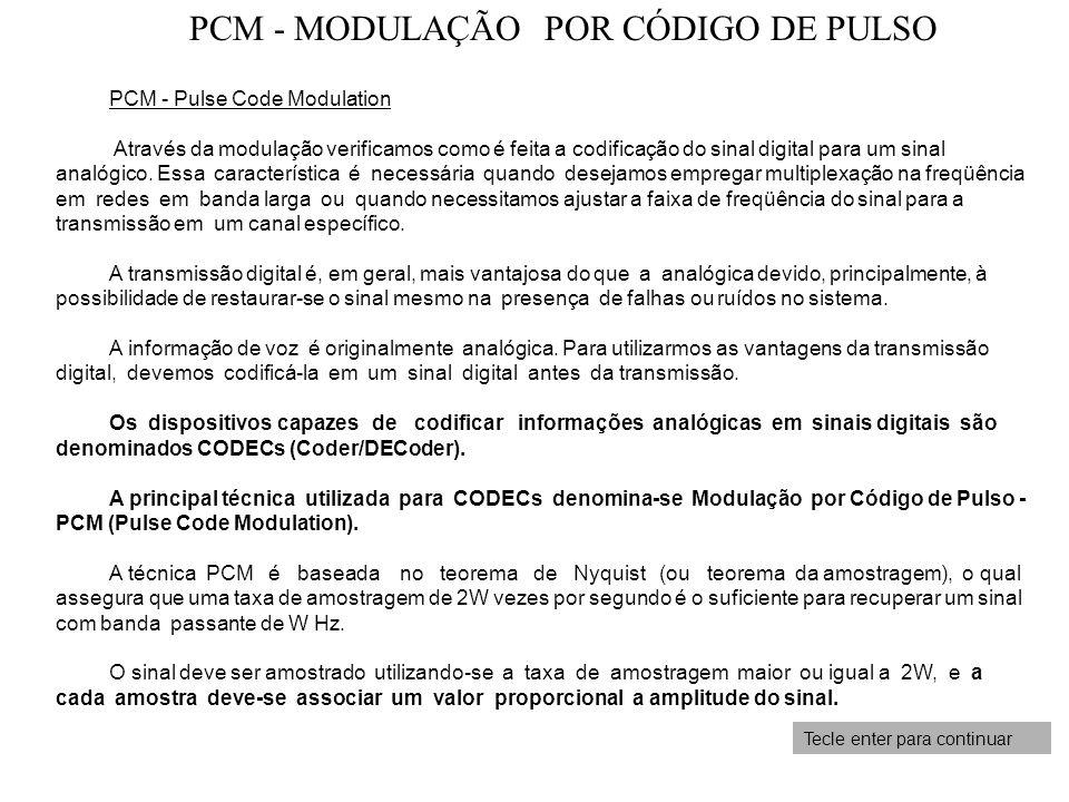 Tecle enter para continuar PCM - Pulse Code Modulation Através da modulação verificamos como é feita a codificação do sinal digital para um sinal anal
