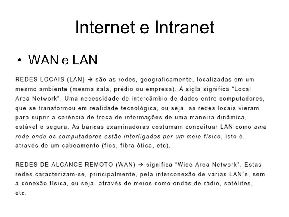 WAN e LAN Internet e Intranet