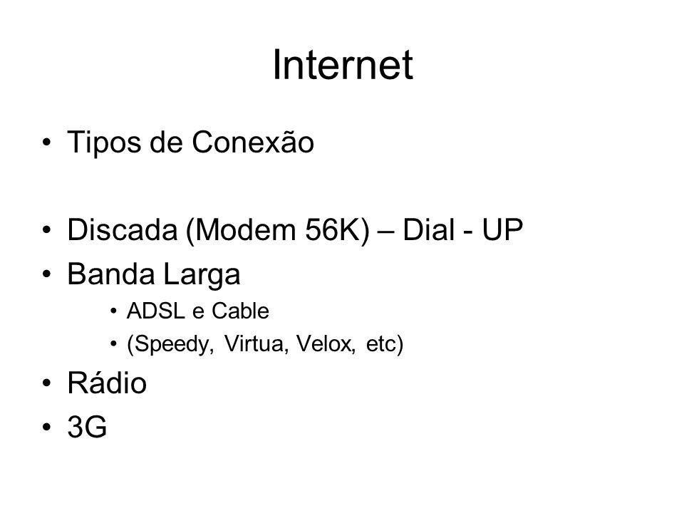 Internet Tipos de Conexão Discada (Modem 56K) – Dial - UP Banda Larga ADSL e Cable (Speedy, Virtua, Velox, etc) Rádio 3G