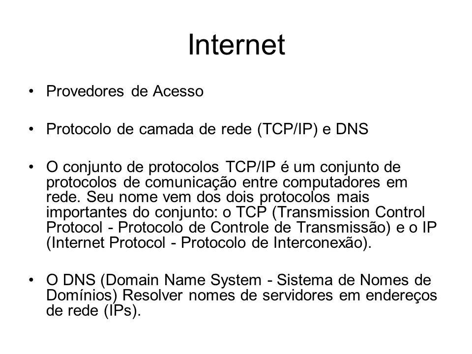 Provedores de Acesso Protocolo de camada de rede (TCP/IP) e DNS O conjunto de protocolos TCP/IP é um conjunto de protocolos de comunicação entre compu