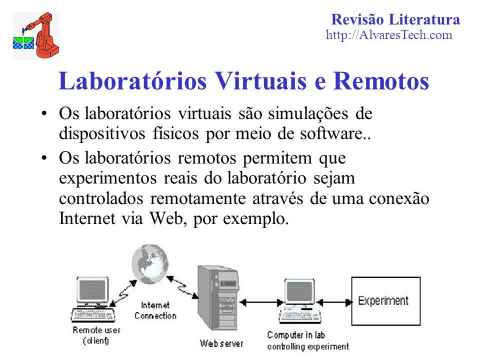 Revisão Literatura http://AlvaresTech.com Laboratórios Virtuais e Remotos Os laboratórios virtuais são simulações de dispositivos físicos por meio de