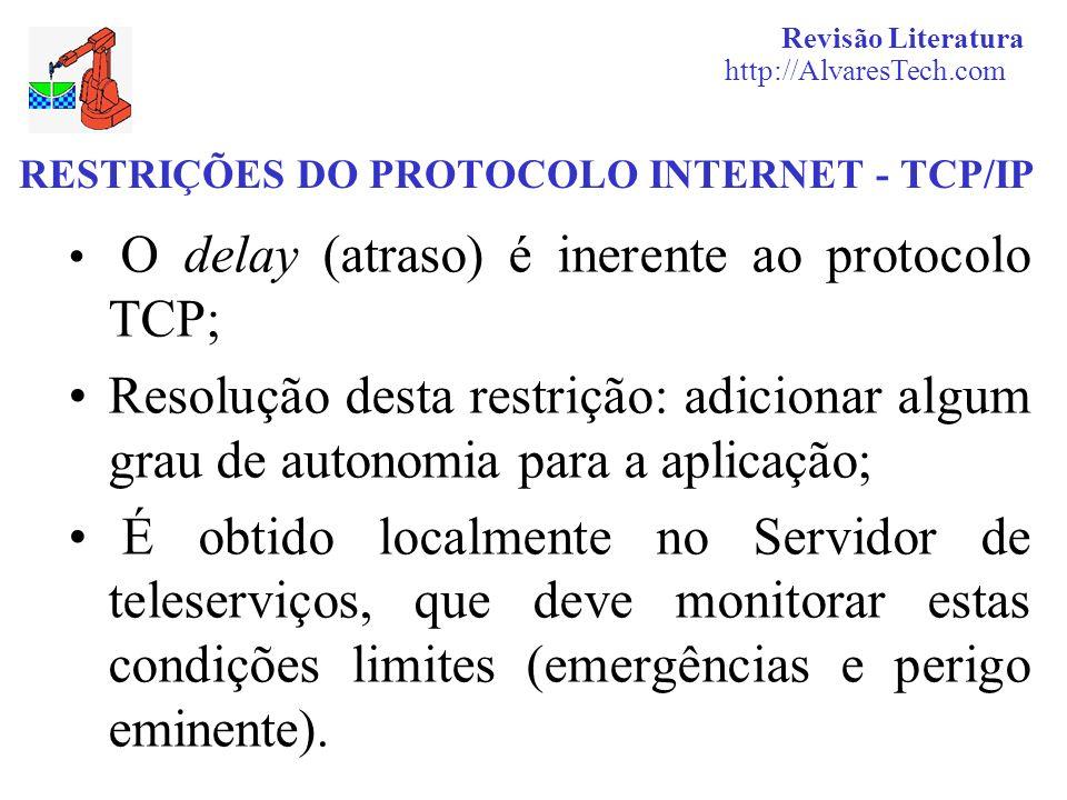RESTRIÇÕES DO PROTOCOLO INTERNET - TCP/IP O delay (atraso) é inerente ao protocolo TCP; Resolução desta restrição: adicionar algum grau de autonomia p