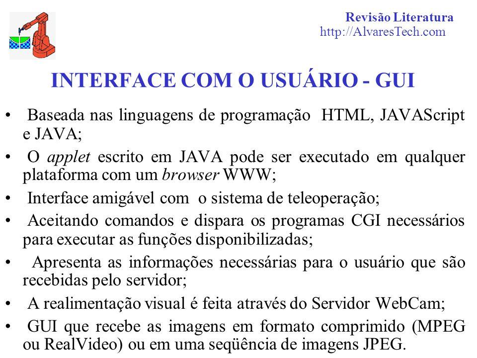 INTERFACE COM O USUÁRIO - GUI Baseada nas linguagens de programação HTML, JAVAScript e JAVA; O applet escrito em JAVA pode ser executado em qualquer p