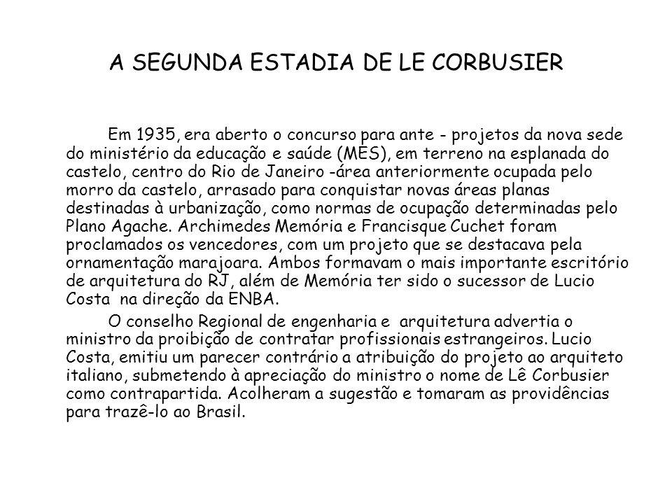 A SEGUNDA ESTADIA DE LE CORBUSIER Em 1935, era aberto o concurso para ante - projetos da nova sede do ministério da educação e saúde (MES), em terreno