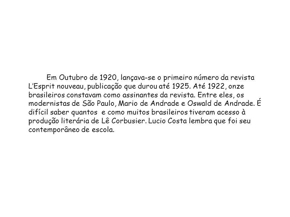 Em Outubro de 1920, lançava-se o primeiro número da revista LEsprit nouveau, publicação que durou até 1925. Até 1922, onze brasileiros constavam como