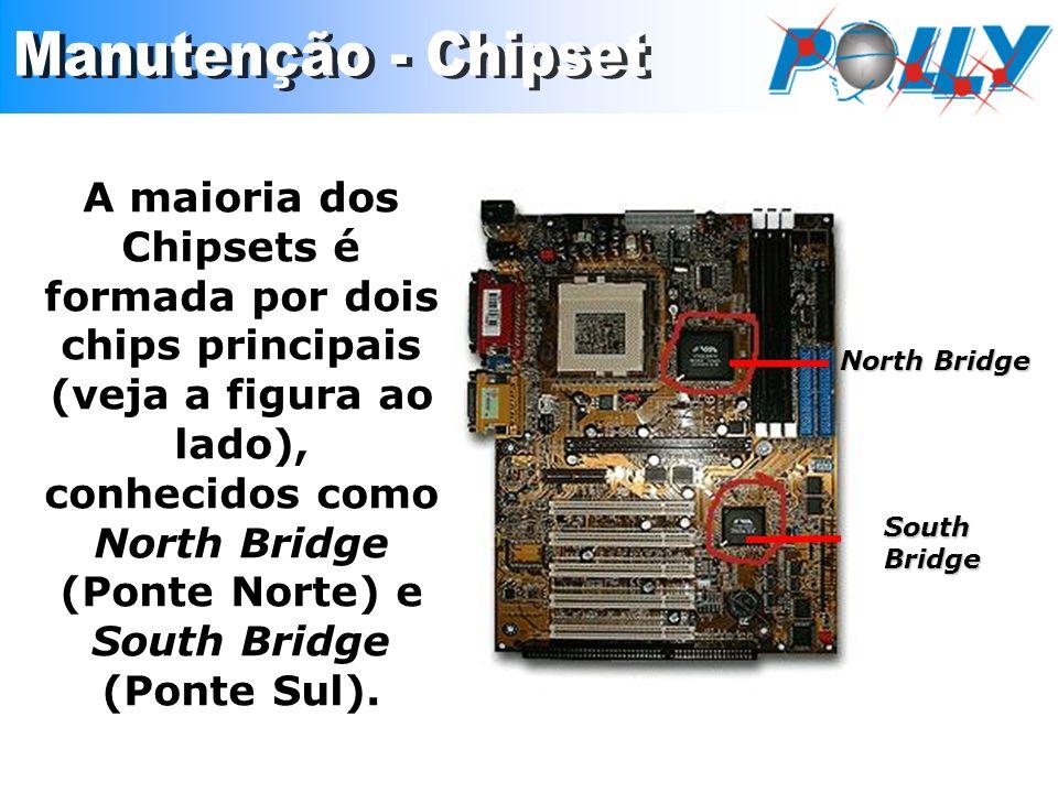 A maioria dos Chipsets é formada por dois chips principais (veja a figura ao lado), conhecidos como North Bridge (Ponte Norte) e South Bridge (Ponte S
