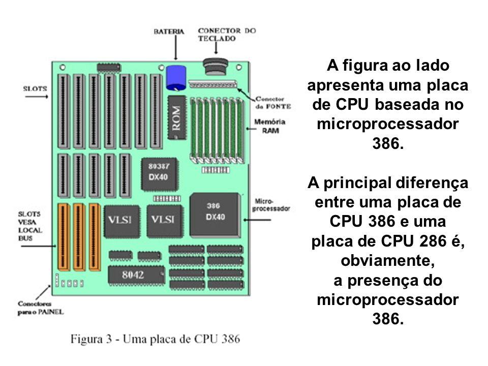 A figura ao lado apresenta uma placa de CPU baseada no microprocessador 386. A principal diferença entre uma placa de CPU 386 e uma placa de CPU 286 é