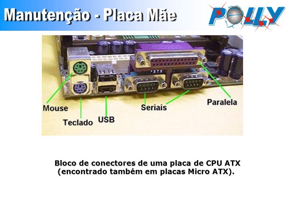 Bloco de conectores de uma placa de CPU ATX (encontrado também em placas Micro ATX). (encontrado também em placas Micro ATX).