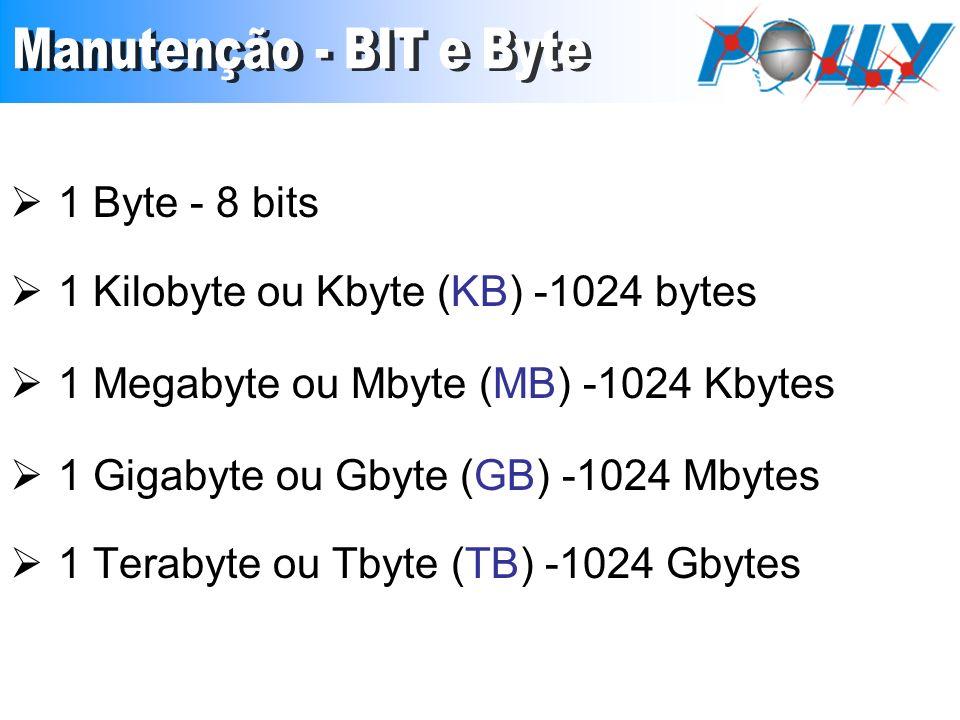 1 Byte - 8 bits 1 Kilobyte ou Kbyte (KB) -1024 bytes 1 Megabyte ou Mbyte (MB) -1024 Kbytes 1 Gigabyte ou Gbyte (GB) -1024 Mbytes 1 Terabyte ou Tbyte (