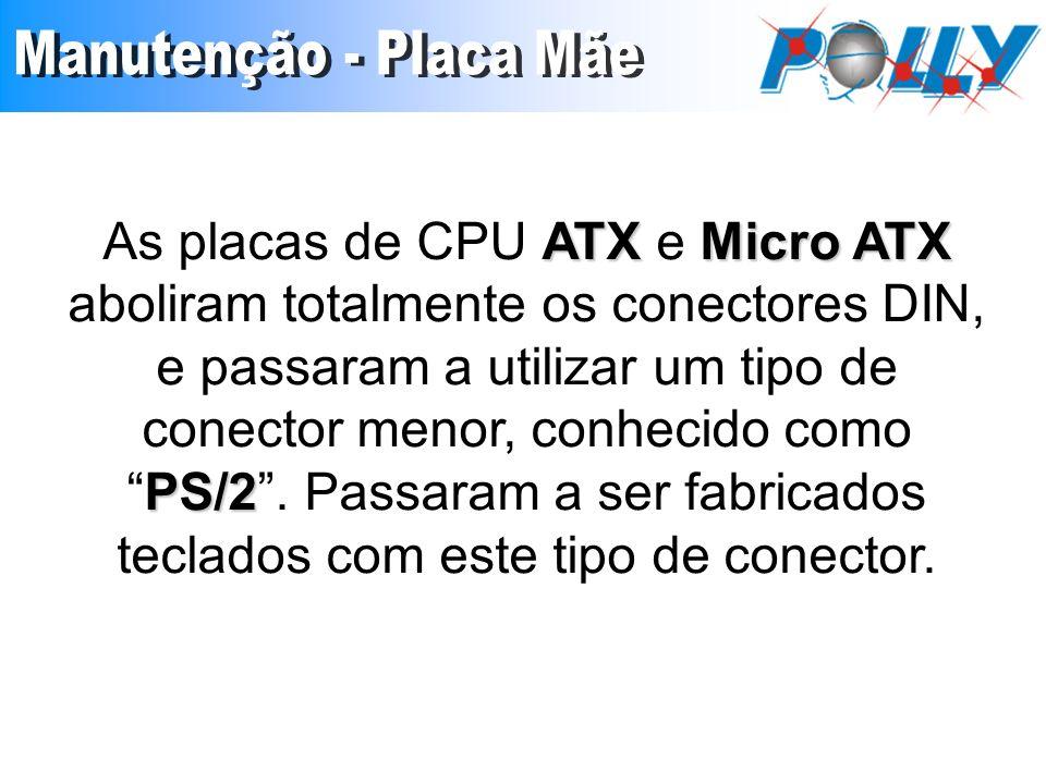 ATX Micro ATX PS/2 As placas de CPU ATX e Micro ATX aboliram totalmente os conectores DIN, e passaram a utilizar um tipo de conector menor, conhecido