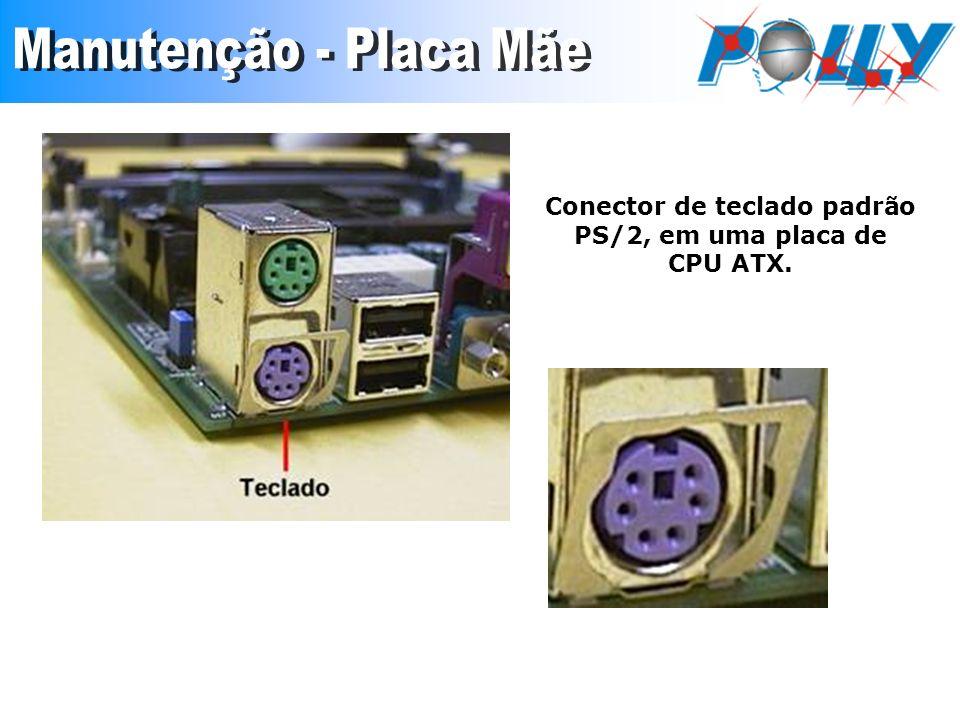 Conector de teclado padrão PS/2, em uma placa de CPU ATX.