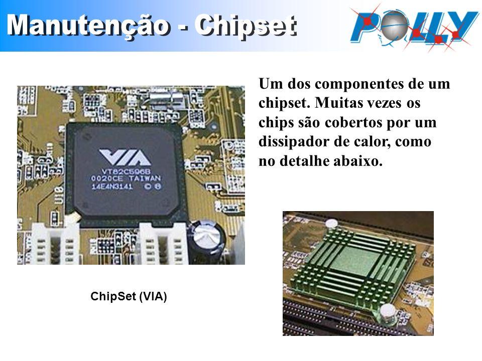 Um dos componentes de um chipset. Muitas vezes os chips são cobertos por um dissipador de calor, como no detalhe abaixo. ChipSet (VIA)