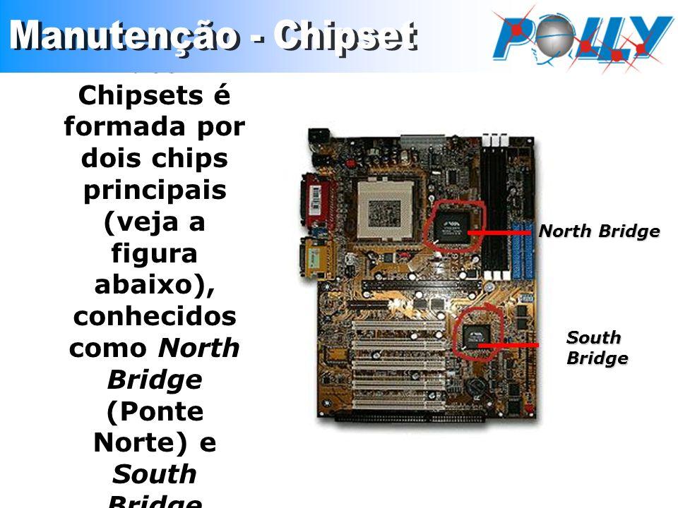 A maioria dos Chipsets é formada por dois chips principais (veja a figura abaixo), conhecidos como North Bridge (Ponte Norte) e South Bridge (Ponte Su