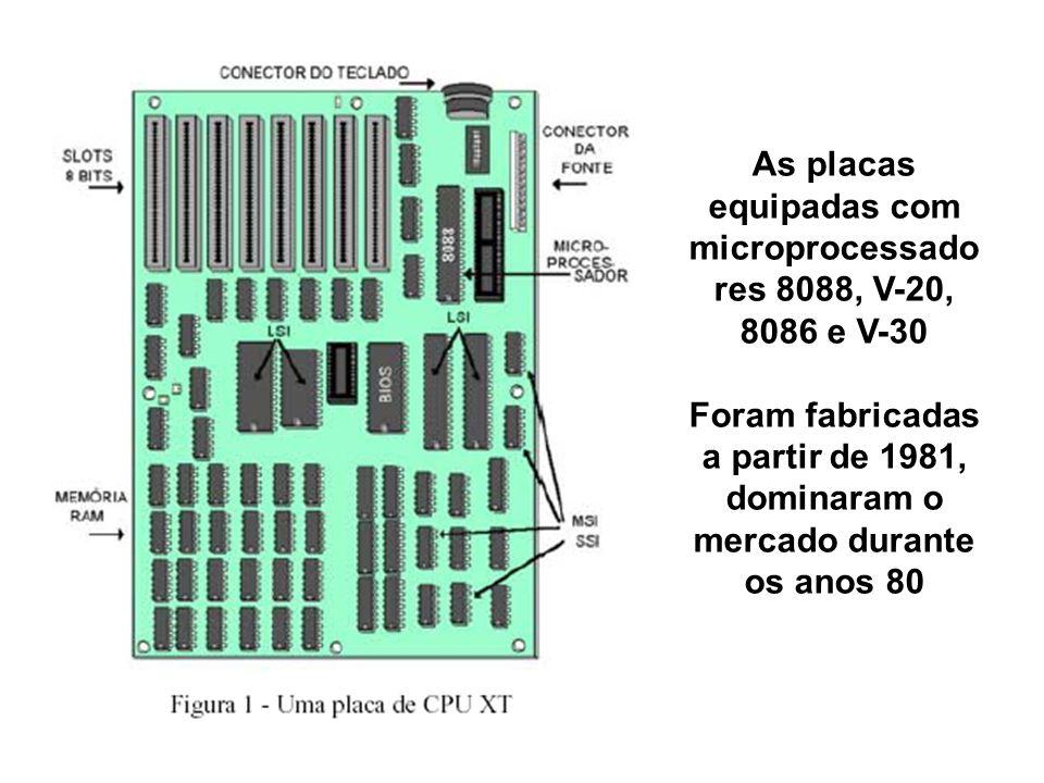 As placas equipadas com microprocessado res 8088, V-20, 8086 e V-30 Foram fabricadas a partir de 1981, dominaram o mercado durante os anos 80