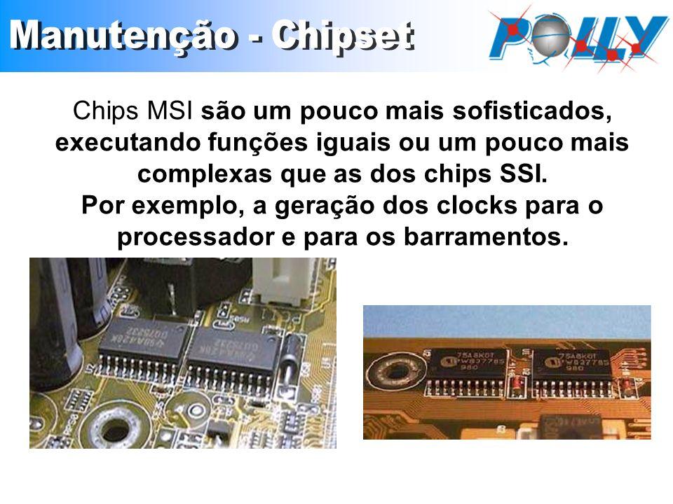 Chips MSI são um pouco mais sofisticados, executando funções iguais ou um pouco mais complexas que as dos chips SSI. Por exemplo, a geração dos clocks