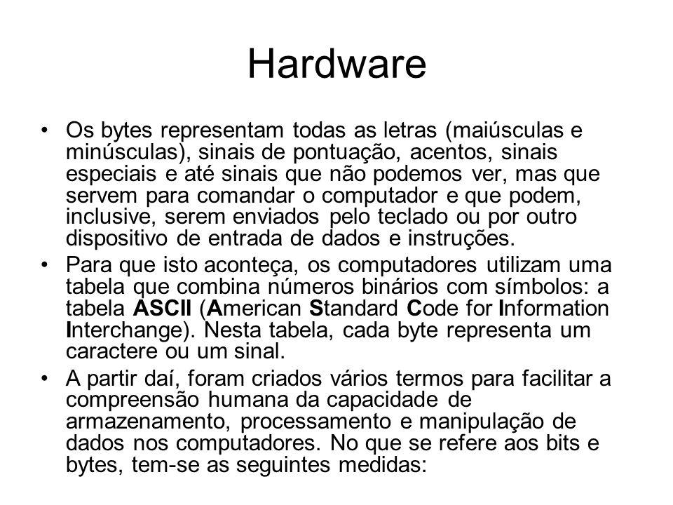 Hardware Os bytes representam todas as letras (maiúsculas e minúsculas), sinais de pontuação, acentos, sinais especiais e até sinais que não podemos v