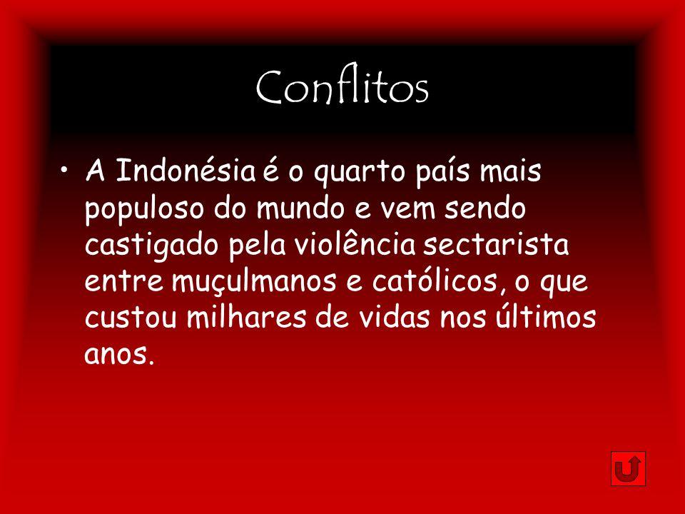 Conflitos A Indonésia é o quarto país mais populoso do mundo e vem sendo castigado pela violência sectarista entre muçulmanos e católicos, o que custo