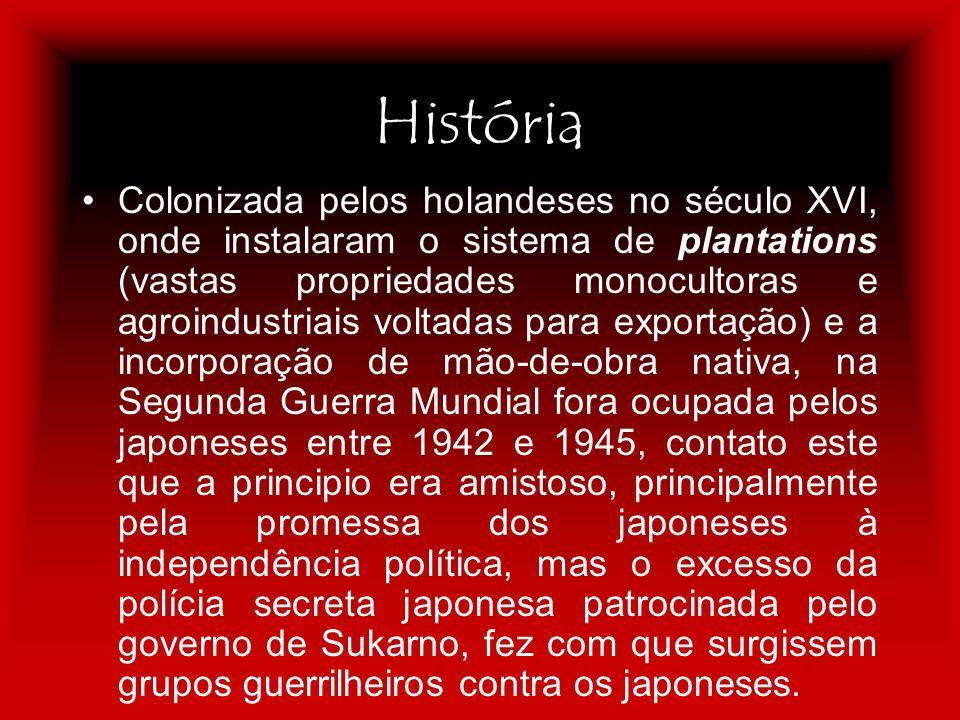 História Colonizada pelos holandeses no século XVI, onde instalaram o sistema de plantations (vastas propriedades monocultoras e agroindustriais volta