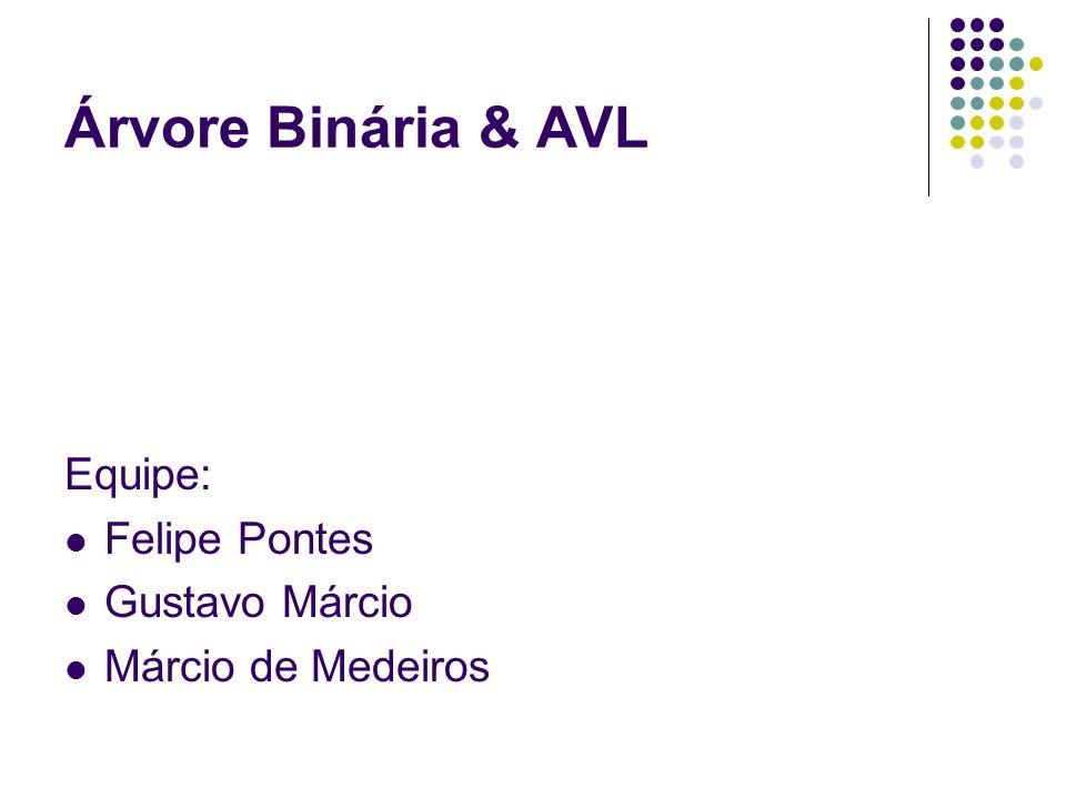 Árvore Binária & AVL Equipe: Felipe Pontes Gustavo Márcio Márcio de Medeiros