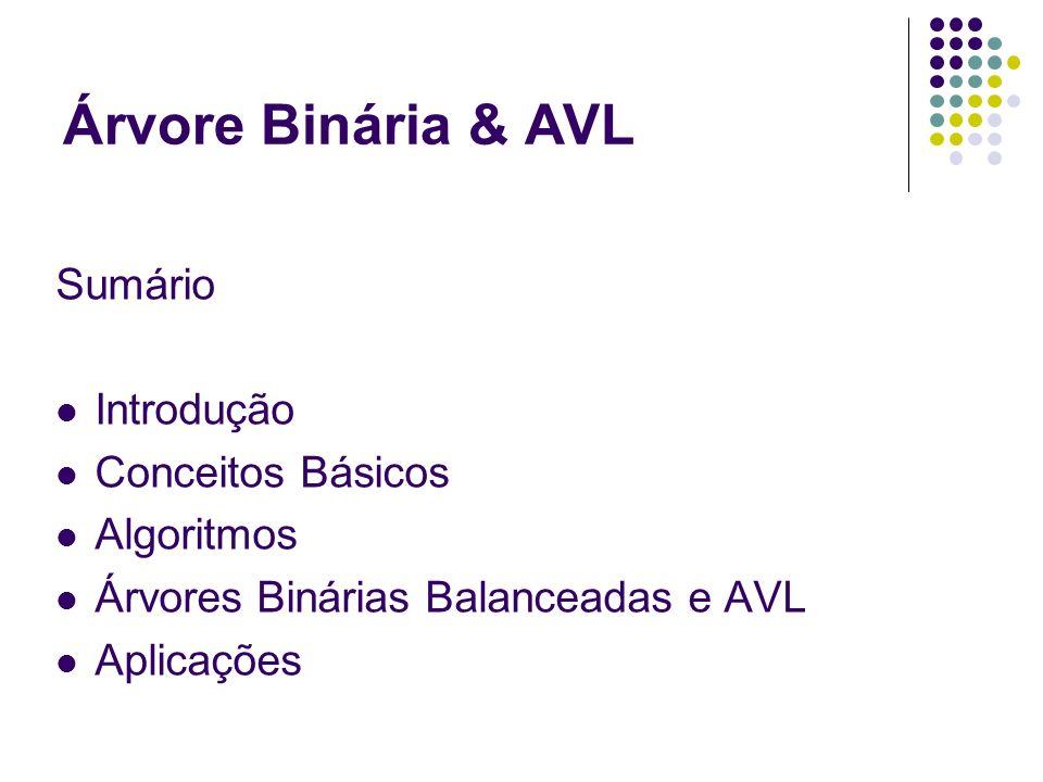 Sumário Introdução Conceitos Básicos Algoritmos Árvores Binárias Balanceadas e AVL Aplicações Árvore Binária & AVL